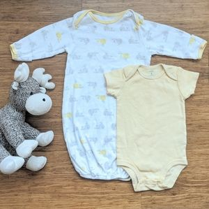 Carter's yellow onsie and sleeping gown